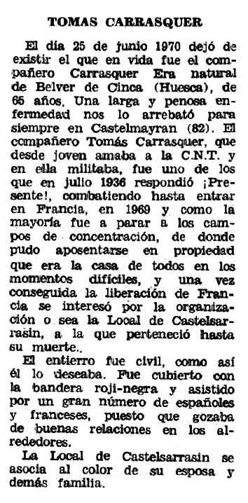 "Necrològica de Tomás Carrasquer Cano apareguda en el periòdic tolosà ""Espoir"" de l'1 de novembre de 1970"