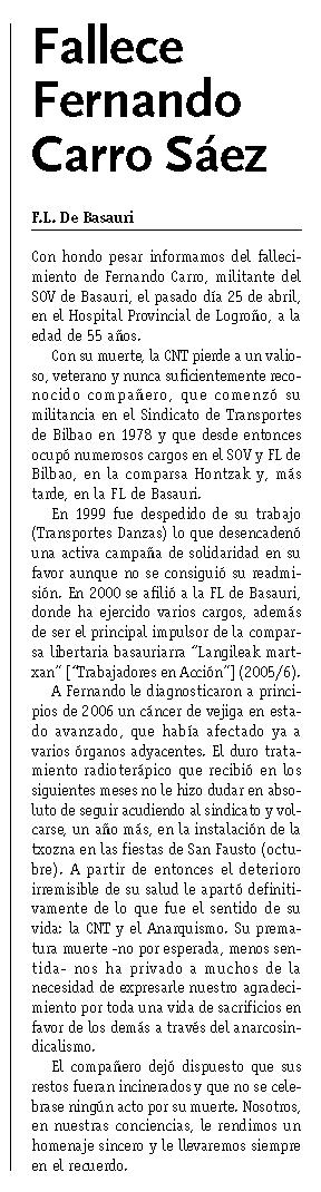 """Necrològica de Fernando Carro Sáez apareguda en el periòdic """"CNT"""" de juliol de 2007"""