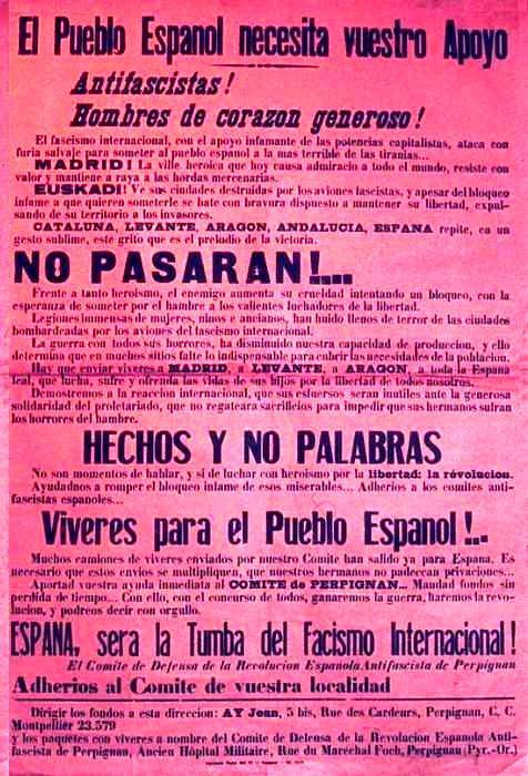 Cartell del Comité de Défense de la Révolution Espagnole Antifasciste
