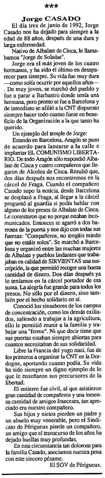"""Necrològica de Jorge Casado Meler apareguda en el periòdic tolosà """"Cenit"""" del 15 de setembre de 1992"""