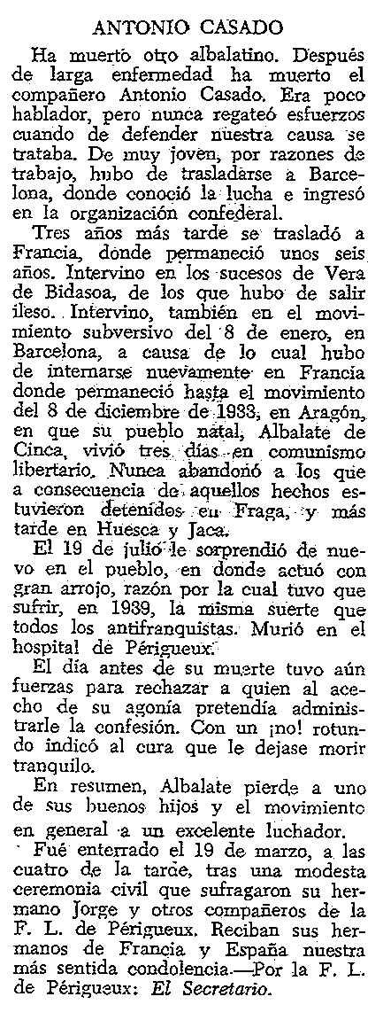 """Necrològica d'Antonio Casado Meler apareguda en el periòdic tolosà """"CNT"""" del 6 d'abril de 1958"""