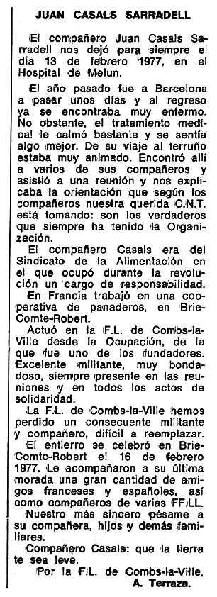 "Necrològica de Joan Casals Serradell apareguda en el periòdic tolosà ""Espoir"" del 24 d'abril de 1977"