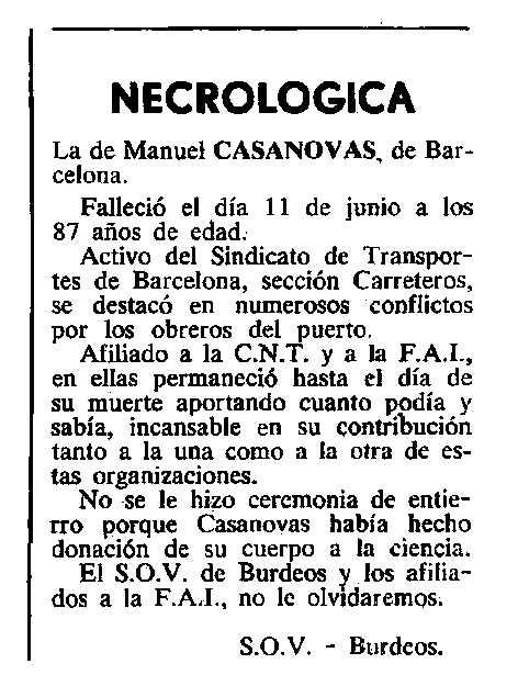 """Necrològica de Manuel Casanovas Camats apareguda en el periòdic tolosà """"Cenit"""" del 3 de juliol de 1984"""