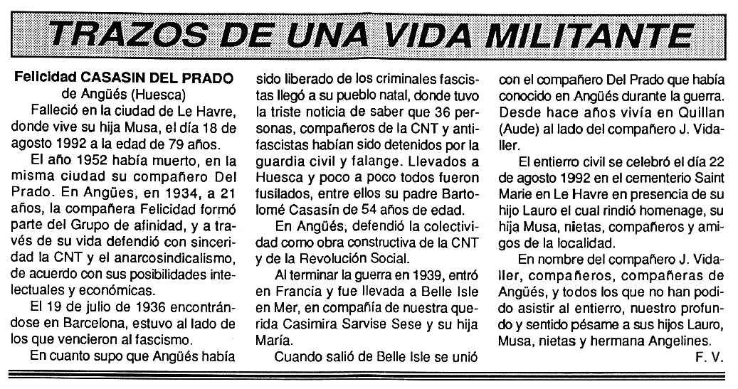 """Necrològica de Felicidad Casasín Bravo apareguda en el periòdic tolosà """"Cenit"""" del 20 d'octubre de 1992"""