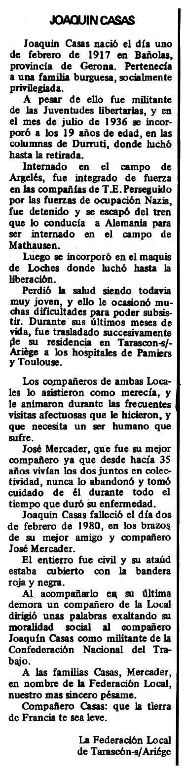 """Necrològica de Joaquim Casas Pla apareguda en el periòdic tolosà """"Espoir"""" del 30 de març de 1980"""