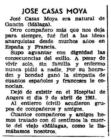 """Necrològica de José Casas Moya apareguda en el periòdic parisen """"Solidaridad Obrera"""" de l'11 de maig de 1961"""