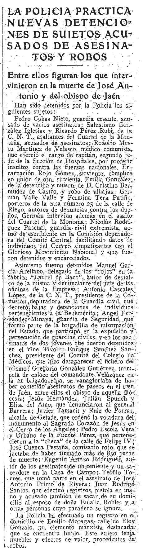 """Notícia de la detenció d'Antonio Cascales López i altres companys apareguda en el diari madrileny """"ABC"""" de 18 d'abril de 1939"""