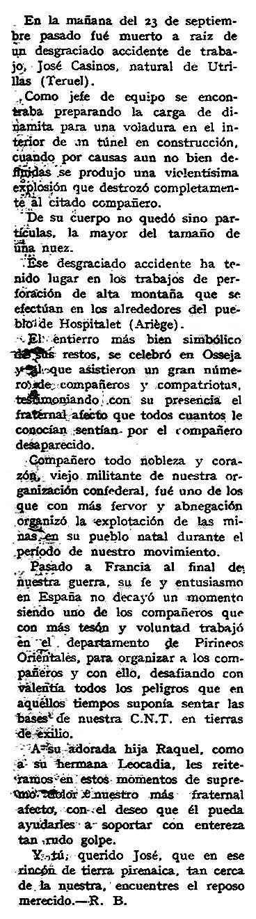 """Necrològica de José Casinos Acerete apareguda en el periòdic tolosà """"España Libre"""" del 27 d'octubre de 1957"""