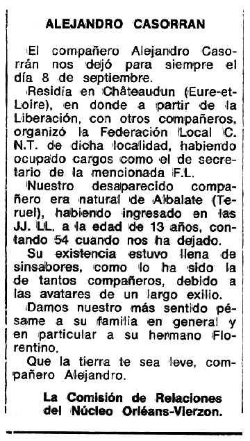 "Necrològica d'Alejandro Casorrán Benaque apareguda en el periòdic tolosà ""Espoir"" del 2 de gener de 1977"