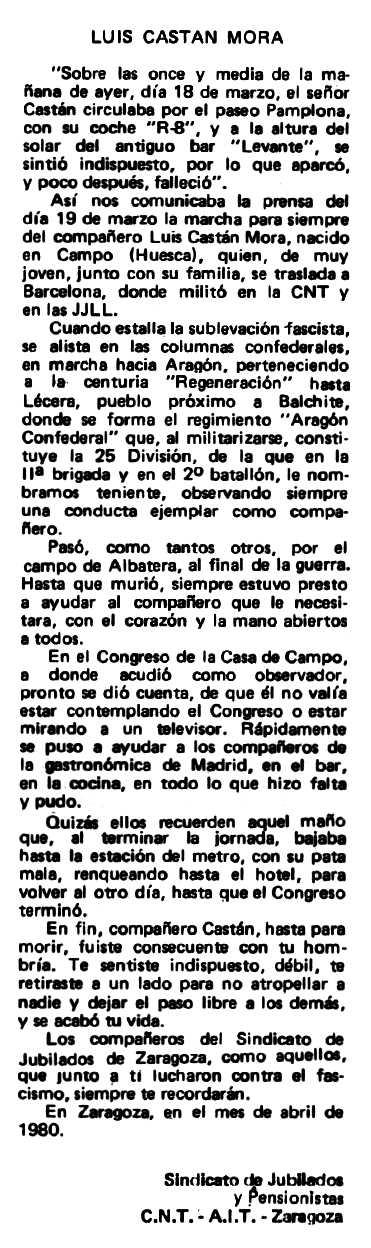 """Necrològica de Luis Castán Mora apareguda en el periòdic tolosà """"Espoir"""" del 4 de maig de 1980"""