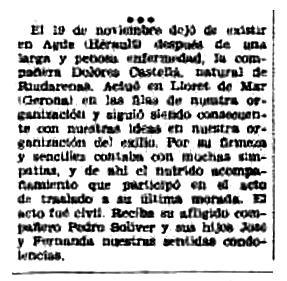 """Necrològica de Dolors Castellà Vallmajó apareguda en el periòdic tolosà """"CNT"""" del 6 de desembre de 1953"""