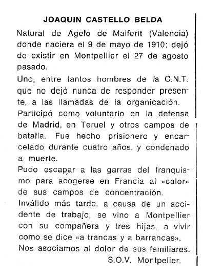 """Necrològica de Joaquim Castelló Belda apareguda en el periòdic tolosà """"Cenit"""" del 28 d'octubre de 1986"""