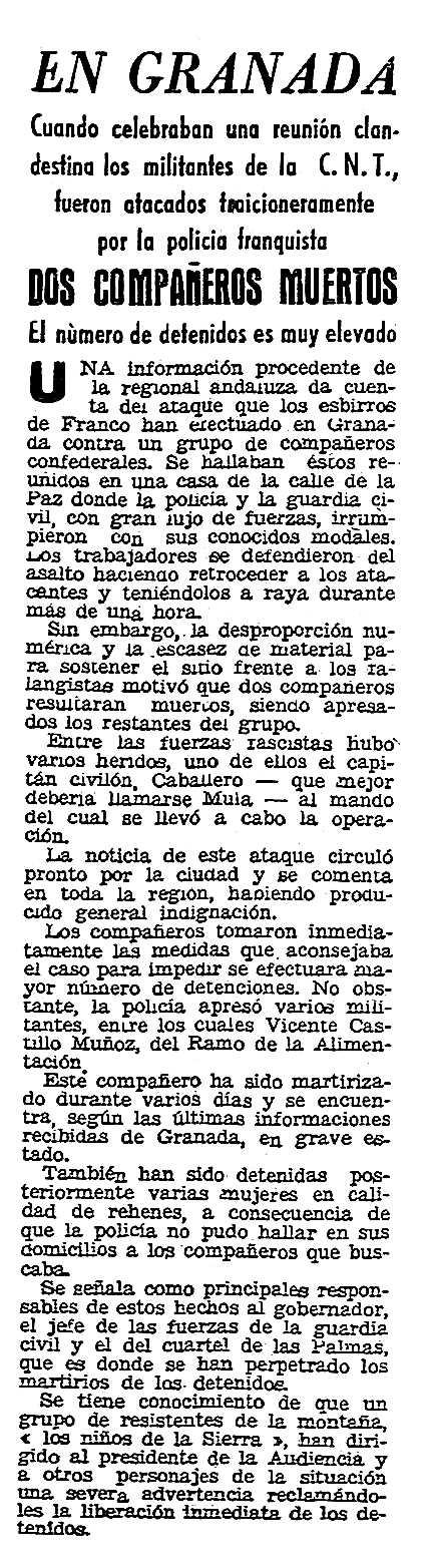 """Notícia de la detenció de Vicente Castillo Muñoz apareguda en el periòdic parisenc """"Solidaridad Obrera"""" del 9 de juliol de 1949"""