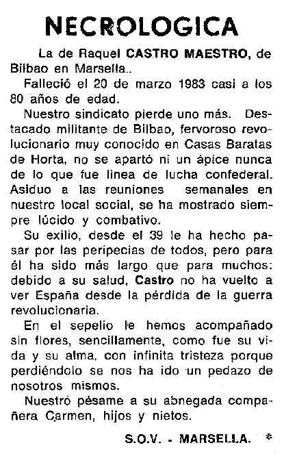 """Necrològica de Raquel Castro Maestro apareguda en el periòdic tolosà """"Cenit"""" del 7 de juny de 1983"""