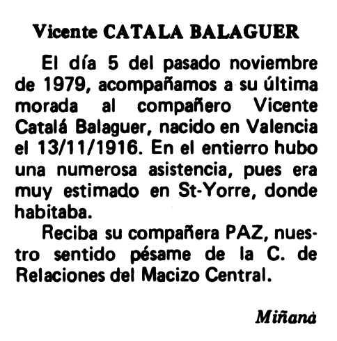 """Necrològica de Vicent Català Balaguer apareguda en el periòdic tolosà """"Espoir"""" del 2 de març de 1980"""