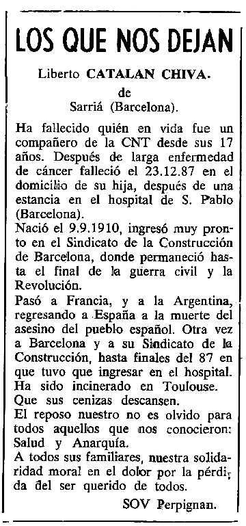 "Necrològica de Liberto Catalán Chiva apareguda en el periòdic tolosà ""Cenit"" del 5 d'abril de 1988"