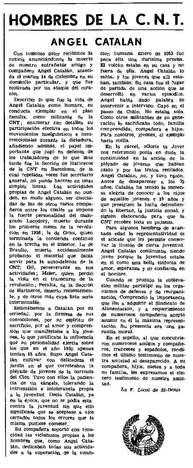"""Necrològica d'Ángel Catalán Herrera apareguda en el periòdic parisenc """"Le Combat Syndicaliste"""" del 13 de gener de 1972"""