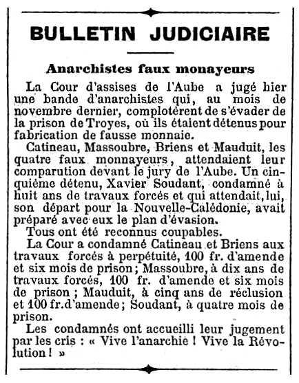 """Notícia de la condemna de Placide Catineau apareguda en el periòdic parisenc """"Journal des débats politiques et littéraires"""" del 14 de febrer de 1894"""