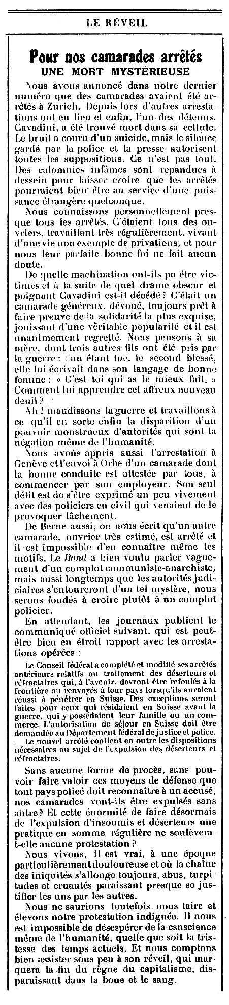 """Notícia de la mort d'Arcangelo Cavadini publicada en el periòdic ginebrí """"Le Réveil"""" de l'11 de maig de 1918"""