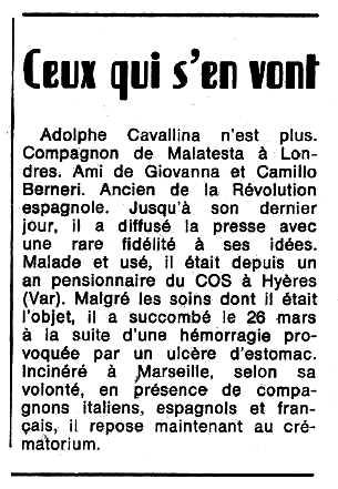 """Necrològica d'Adolphe Cavallina publicada en el periòdic tolosà """"Espoir"""" del 30 d'abril de 1972"""