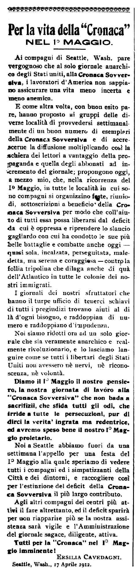 """Crida d'Ersilia Cavedagni publicada en el periòdic de Barre (Vermont, EUA) """"Cronaca Sovversiva"""" del 27 d'abril de 1912"""