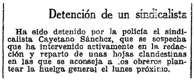 """Notícia de la detenció de Cayetano Sánchez Izquierdo apareguda al diari barceloní """"La Vanguardia"""" del 14 de febrer de 1932"""