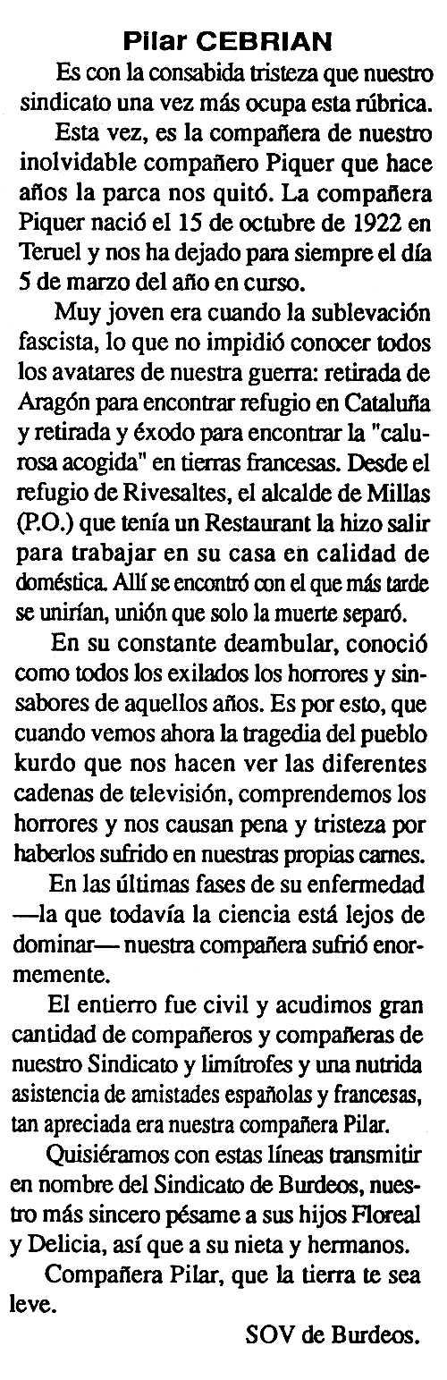 """Necrològica de Pilar Cebrián apareguda en el periòdic tolosà """"Cenit"""" del 28 de maig de 1991"""
