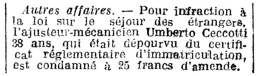 """Notícia sobre Umberto Ceccotti apareguda en el diari parisenc """"La Dépêche"""" del 21 de novembre de 1925"""