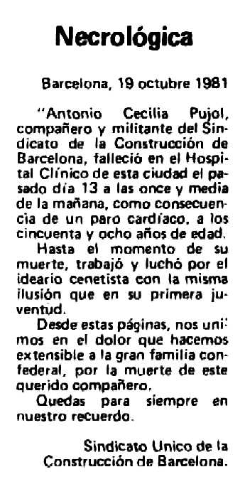 """Necrològica d'Antoni Cecilia Pujol apareguda en el periòdic barcelonès """"Solidaridad Obrera"""" del 3 de novembre de 1981"""