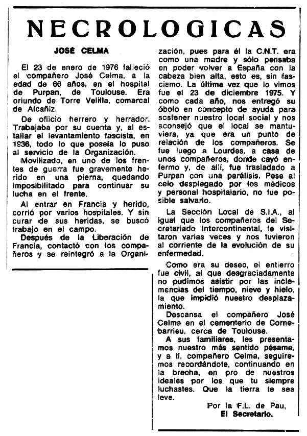"""Necrològica de José Celma Llonga apareguda en el periòdic tolosà """"Espoir"""" del 18 d'abril de 1976"""