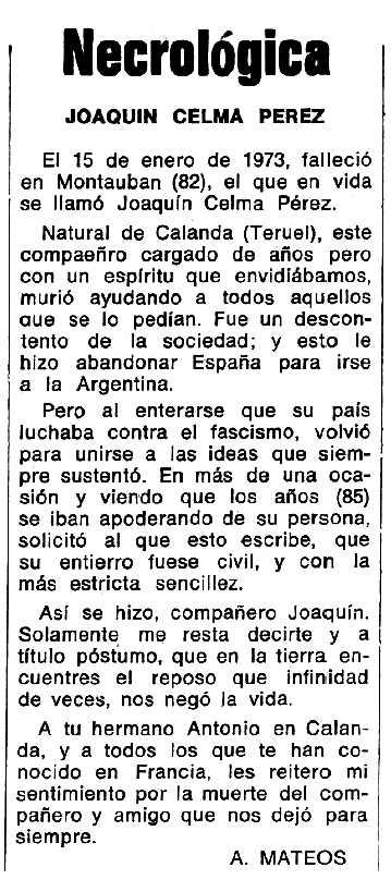 """Necrològica de Joaquín Celma Pérez apareguda en el periòdic tolosà """"Espoir"""" del 12 de maig de 1974"""
