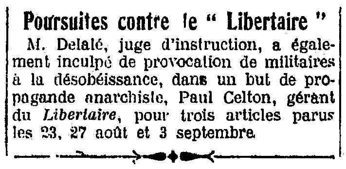 """Notícia del processament de Paul Celton apareguda en el periòdic parisenc """"L'Humanité"""" del 14 d'octubre de 1927"""
