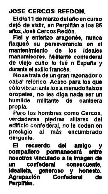 """Necrològica de Cercós Redón apareguda en la revista """"Libre Pensamiento"""" de maig de 1988"""