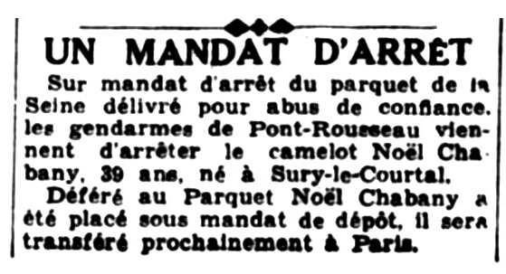 """Notícia sobre la detenció de Noël Chabany apareguda en el diari de Nantes """"Le Phare de la Loire"""" del 20 de novembre de 1936"""