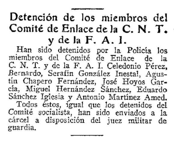 """Notícia de la detenció d'Agustín Chapero apareguda en l'edició sevillana del diari """"ABC"""" del 9 d'octubre de 1934"""