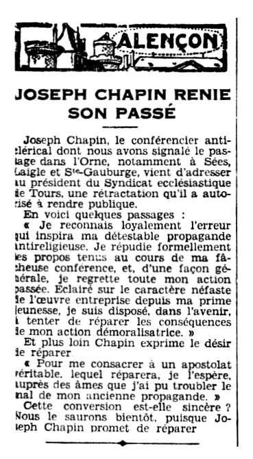 """Notícia sobre la retractació de Joseph Chapin publicada en el diari de Caen """"L'Ouest-Éclair"""" del 27 de juliol de 1931"""