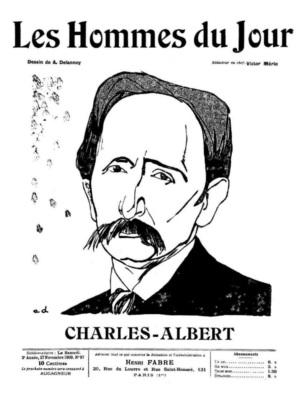 """Charles-Albert retratado por Aristide Delannoy para """"Les Hommes du Jour"""" del 27 de noviembre 1909"""