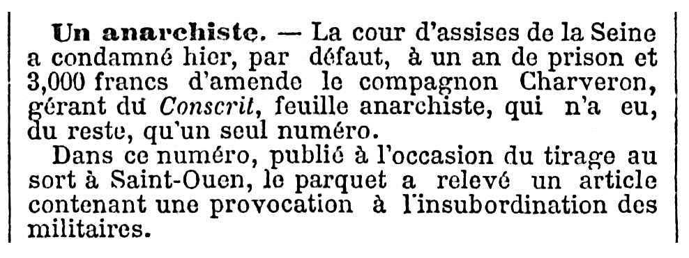"""Notícia de la condemna de Louis Charveron apareguda en el diari parisenc """"Le Temps"""" del 24 de febrer de 1892"""