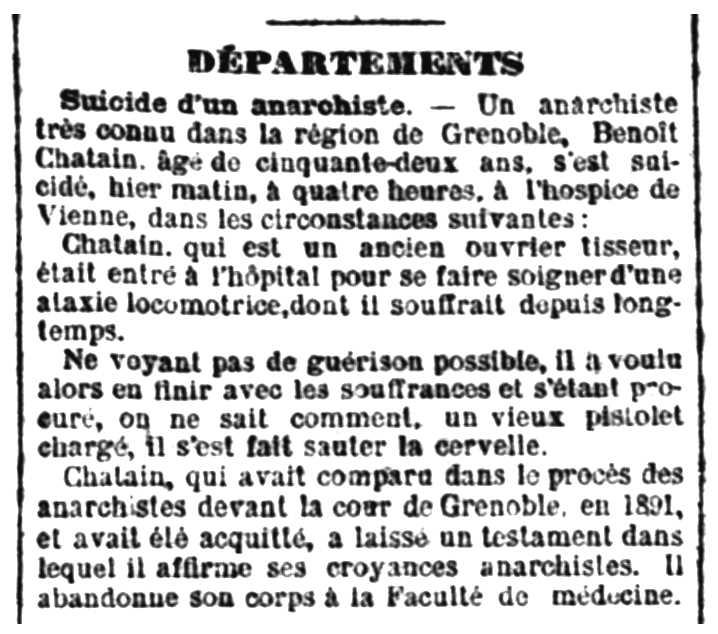 """Notícia de la defunció de Benoît Chatain apareguda en el periòdic parisenc """"La République Française"""" del 2 de març de 1895"""