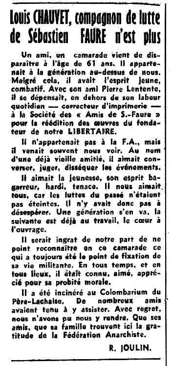 """Necrològica de Louis Chauvet a pareguda en el periòdic parisenc """"Le Libertaire"""" del 12 de febrer de 1953"""