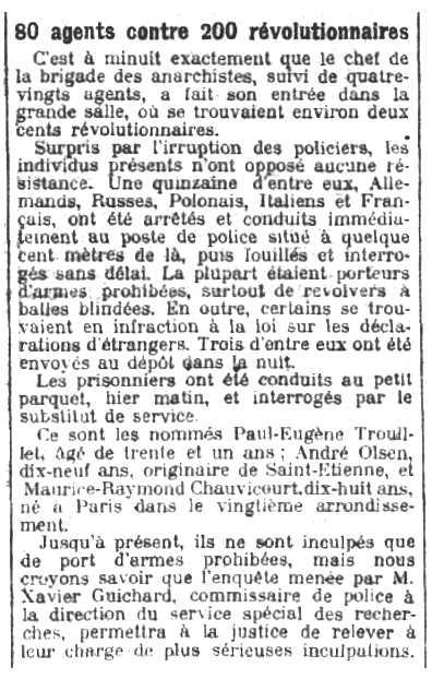 """Notícia de la detenció de Maurice-Raymond Chauvicourt apareguda en el diari parisenc """"Le Petit Parisien"""" del 17 d'octubre de 1910"""