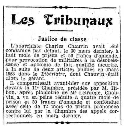 """Notícia sobre la condemna de Charles Chauvin apareguda en el diari parisenc """"L'Humanité"""" de l'1 de maig de 1924"""