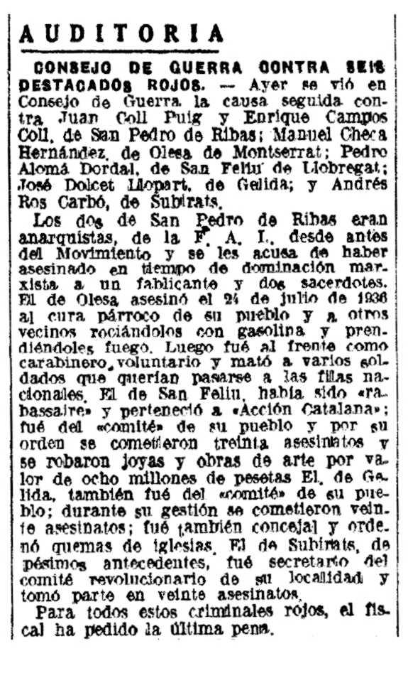 """Notícia sobre el consell de guerra de Manuel Checa Hernández apareguda en el diari barceloní """"La Vanguardia"""" del 29 de juliol de 1942"""