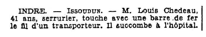 """Notícia de la mort de Louis Chedeau apareguda en el diari parisenc """"Le Matin"""" del 12 de juliol de 1934"""