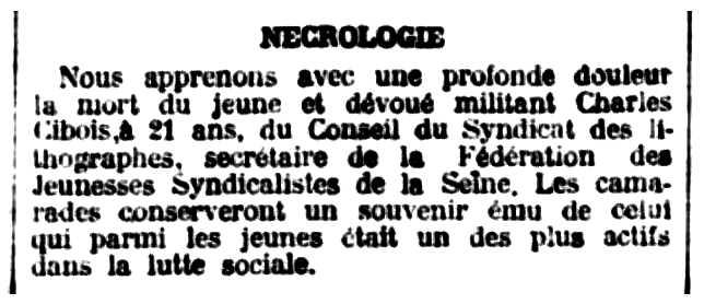 """Necrològica de Charles Cibois apareguda en el periòdic parisenc """"Le Libertaire"""" del 28 d'agost de 1925"""