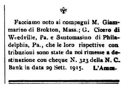 """Notícia sobre Giovanni Cicero apareguda en el periòdic de Barre """"Cronaca Sovversiva"""" aparegut el 2 d'octubre de 1915"""