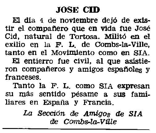 "Necrològica de Josep Cid apareguda en el periòdic parisenc ""Le Combat Syndicaliste"" del 29 de novembre de 1962"
