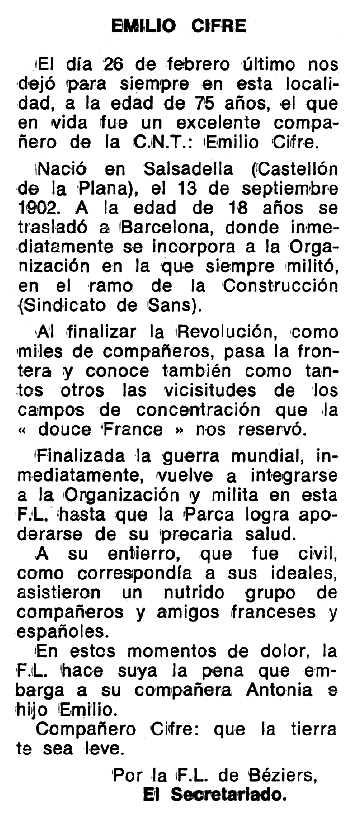 """Necrològica d'Emilio Cifre Fos apareguda en el periòdic tolosà """"Espoir"""" del 8 de maig de 1977"""