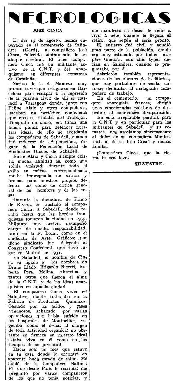 """Necrològica de Josep Cinca Vilagener apareguda en el periòdic tolosà """"Espoir"""" del 15 de setembre de 1963"""