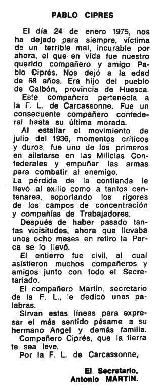"""Necrològica de Pablo Ciprés Aisa apareguda en el periòdic tolosà """"Espoir"""" de l'11 de maig de 1975"""